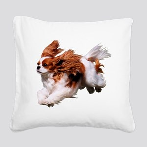 Cavalier Running- Blenheim Square Canvas Pillow