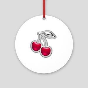 Glass Chrome Cherries Round Ornament