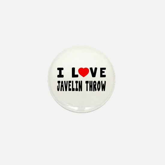 I Love Javelin Throw Mini Button