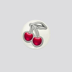 Glass Chrome Cherries Mini Button