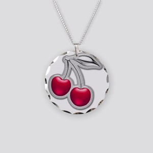 Glass Chrome Cherries Necklace Circle Charm