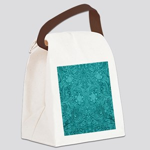 Leather Look Floral Turquoise Canvas Lunch Bag