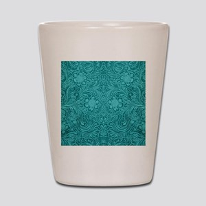 Leather Look Floral Turquoise Shot Glass