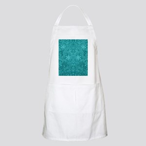 Leather Look Floral Turquoise Apron
