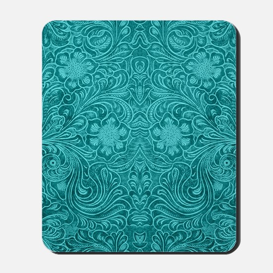 Leather Look Floral Turquoise Mousepad