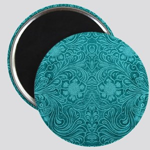 Leather Look Floral Turquoise Magnet