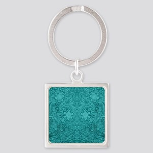 Leather Look Floral Turquoise Square Keychain