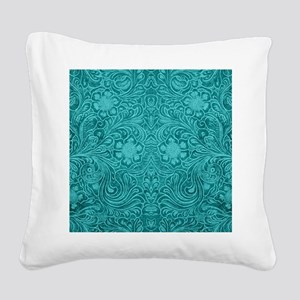 Leather Look Floral Turquoise Square Canvas Pillow