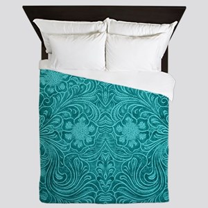 Leather Look Floral Turquoise Queen Duvet