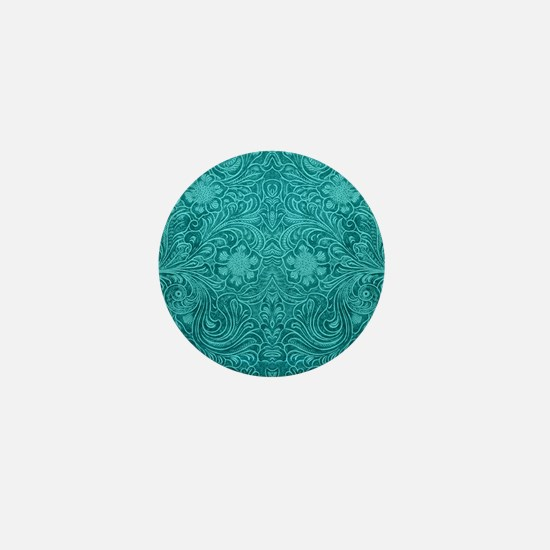 Leather Look Floral Turquoise Mini Button