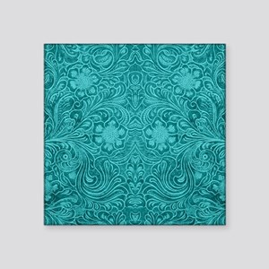 """Leather Look Floral Turquoi Square Sticker 3"""" x 3"""""""