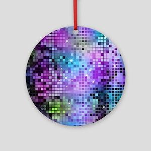 Disco Mirrors in Purple and Green Round Ornament