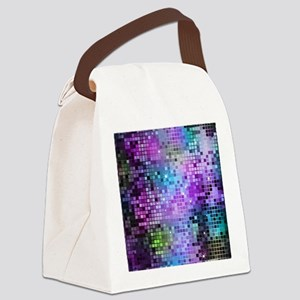 Disco Mirrors in Purple and Green Canvas Lunch Bag