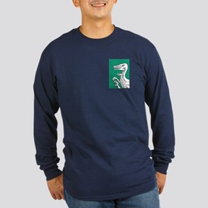 Bold Green Velociraptor! Long Sleeve Dark T-Shirt