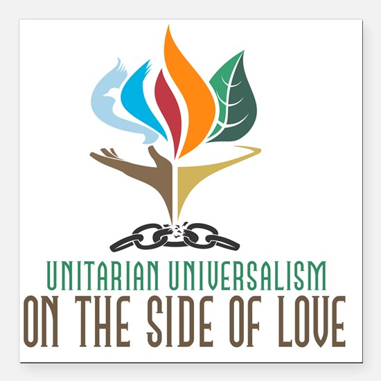 """UU On the Side of Love Square Car Magnet 3"""" x 3"""""""