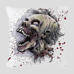 Zombie head Woven Throw Pillow