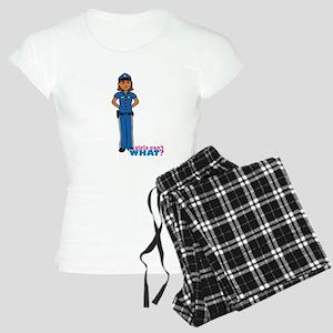 Woman Police Officer Dark Women's Light Pajamas