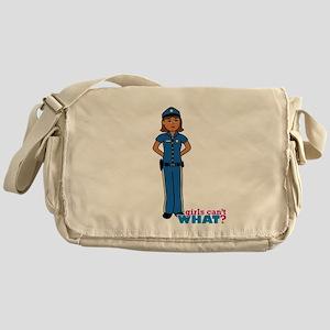 Woman Police Officer Dark Messenger Bag