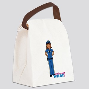 Woman Police Officer Dark Canvas Lunch Bag