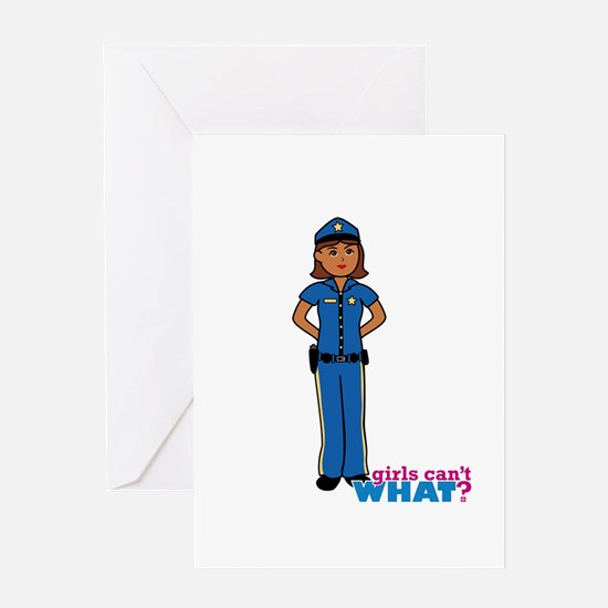 Woman Police Officer Dark Greeting Card