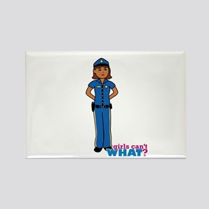Woman Police Officer Dark Rectangle Magnet