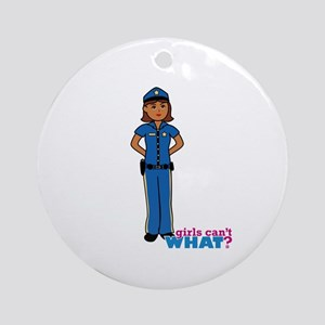 Woman Police Officer Dark Ornament (Round)