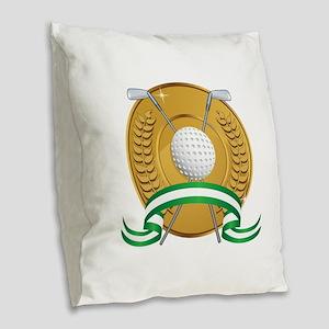 Golf Emblem Burlap Throw Pillow