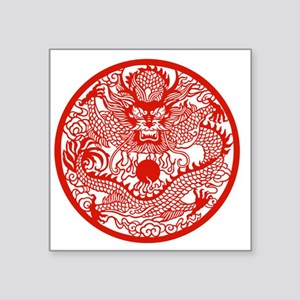 "Asian Dragon Square Sticker 3"" x 3"""