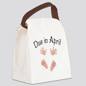 Due in April Baby Hands and Feet Canvas Lunch Bag