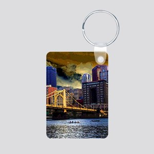 Downtown Pittsburgh from t Aluminum Photo Keychain