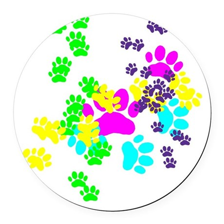 Pawprints Round Car Magnet