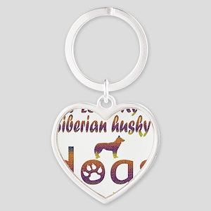 Siberian husky designs Heart Keychain