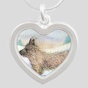 He enjoyed the wind through  Silver Heart Necklace
