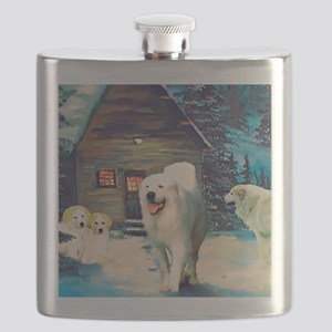 Great Pyrenees Winter Cottage Flask