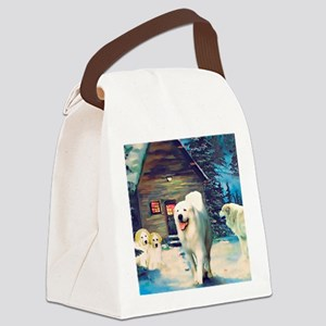 Great Pyrenees Winter Cottage Canvas Lunch Bag