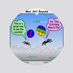 Ballooning Spiders Cartoon Round Ornament