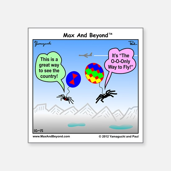 "Ballooning Spiders Cartoon Square Sticker 3"" x 3"""
