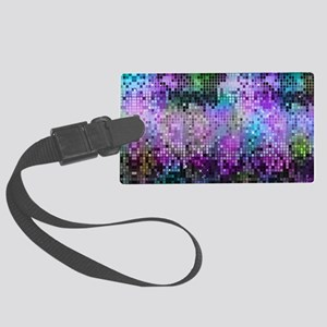 Disco Mirrors in Purple and Gree Large Luggage Tag