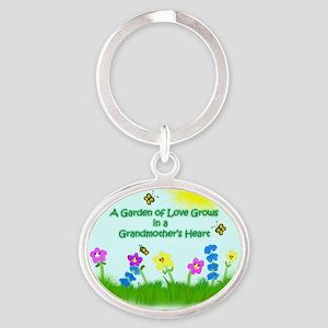 Garden of Grandmothers Love Oval Keychain