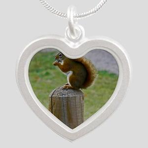 Squirrel Silver Heart Necklace