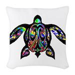 hawaiian honu turtle print Woven Throw Pillow