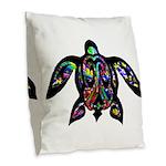 hawaiian honu turtle print Burlap Throw Pillow