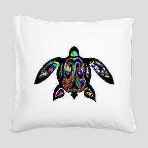 hawaiian honu turtle print Square Canvas Pillow