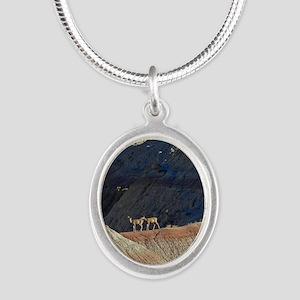 Deer in Bad Lands Silver Oval Necklace