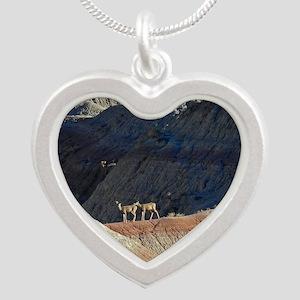 Deer in Bad Lands Silver Heart Necklace