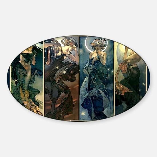 Alphonse Muchas Star, Night, Moon,  Sticker (Oval)