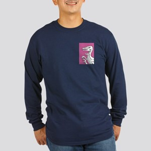 Violet Rose Velociraptor! Long Sleeve Dark T-Shirt