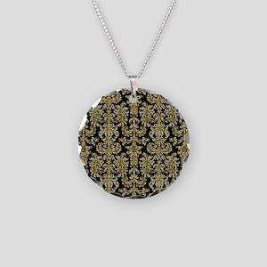 Gold  Diamonds Damasks Patte Necklace Circle Charm