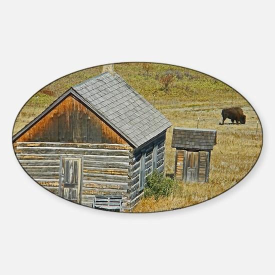 Cabin and Buffalo Sticker (Oval)