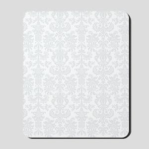 White  Light Gray Floral Damasks Mousepad